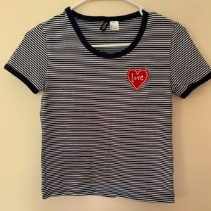 H&M striped stretch embroidered top!